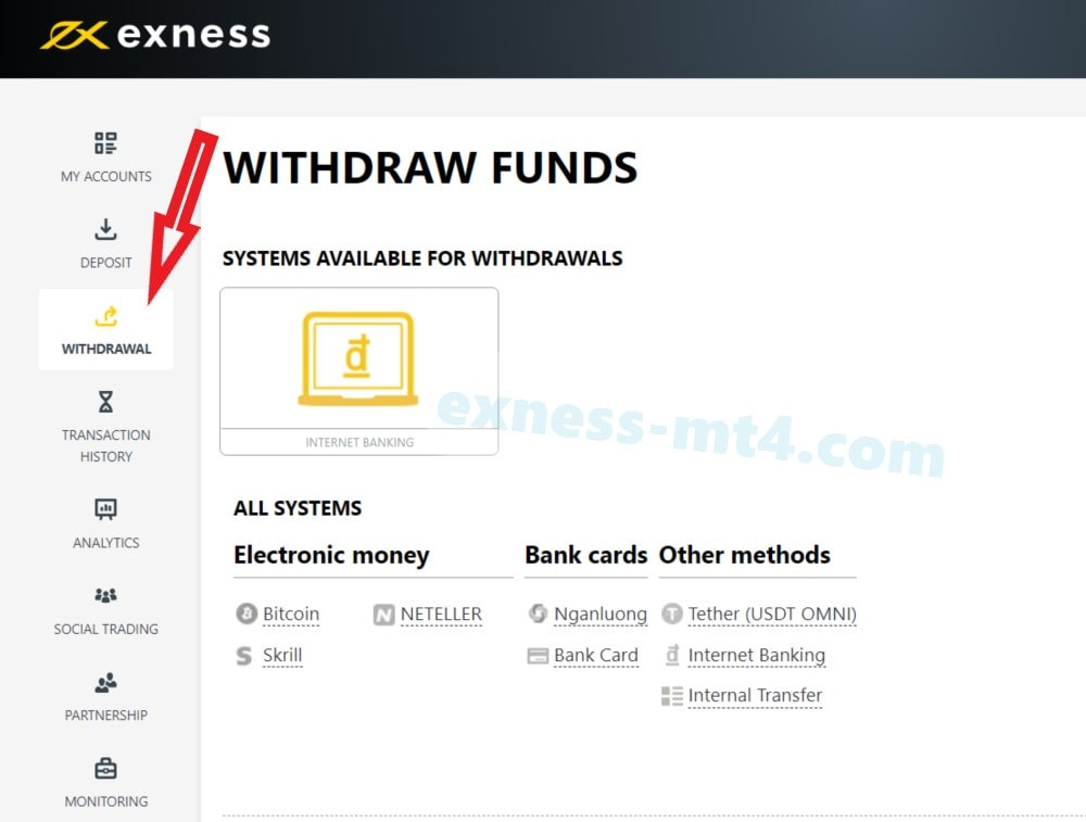 Click on Withdraw menu and Select a payment system